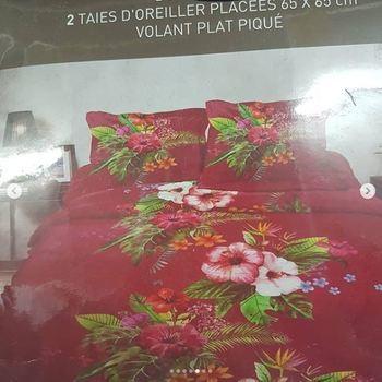 drap plat + drap housse 1.80*2m + 2 taies pour lit de 2 pers - extra grand en coton - bordeau