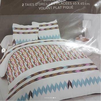 drap plat + drap housse 1.80*2m + 2 taies pour lit de 2 pers - extra grand en coton - marron turquoise