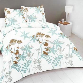 drap plat + drap housse 1.60*2m + 2 taies pour lit de 2 personnes - 100% coton - feuilles turquoise marron