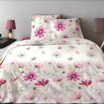 drap plat + drap housse 1.60*2m + 2 taies pour lit de 2 personnes - 100% coton - fleurs fuschia