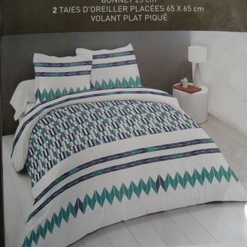 drap plat + drap housse 1.60*2m + 2 taies pour lit de 2 personnes - 100% coton - vert bic