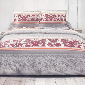 housse de couette 2.40*2.20m + 2 taies en coton - arabesque gris bordeau