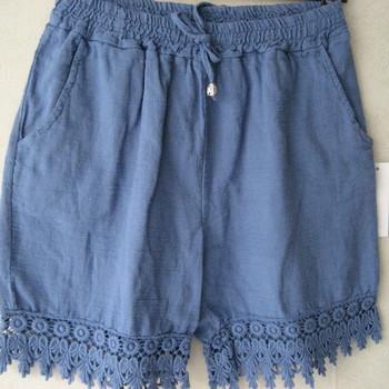 short lin brodé pour dame en bleu jeans