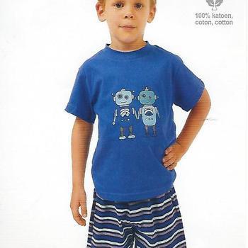 pyjashort coton jersey pour garçon - robot bleu 4ans