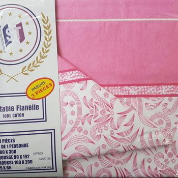 drap plat + drap housse + 1 taie pour lit d'1 personne - flanelle - rose