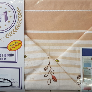 drap plat + drap housse 1.80*2m + 2 taies pour lit de 2 pers - extra grand en flanelle - beige fleurs rouges