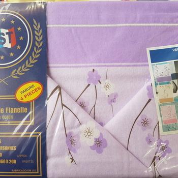 drap plat + drap housse + 2 taies pour lit de 2 personnes - flanelle - parme