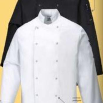 veste de cuisinier longues manches en coton : noir
