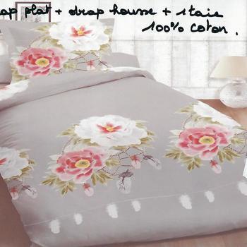 drap plat + drap housse + 1 taie en 100% coton - grandes fleurs gris