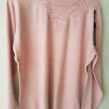 pull tricot ras du cou pour dame - feuilles - différents coloris