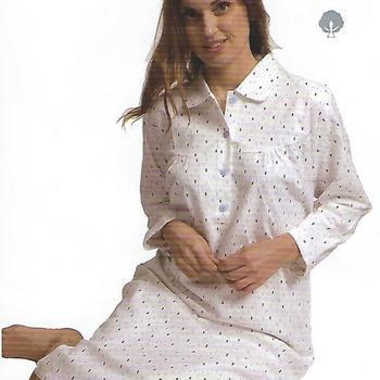 robe de nuit flanelle pour dame - blanc - reste M - L