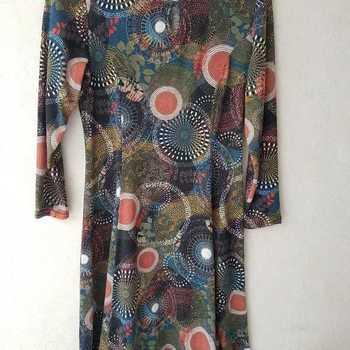 robe tricot ronds rouille pétrole pour dame - qualité française