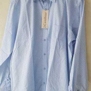 chemise longues manches polyester-coton de M à 3XL - ciel petits dessins