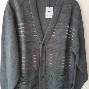 gilet boutonné avec poches - pour homme - hiver gris/vert