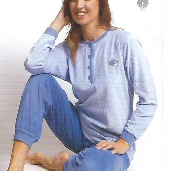 pyjama velours rasé pour dame - pois écru ou ciel