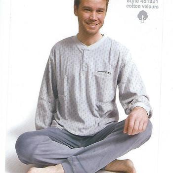 pyjama velours rasé pour homme - 3 boutons petits motifs