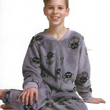 pyjama polaire fluffy 1 pièce ou onesie singes gris - 10 ans 12 ans
