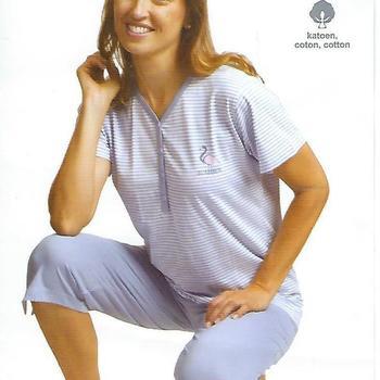 pyjama corsaire coton pour dame - == flamand rose - 2 coloris