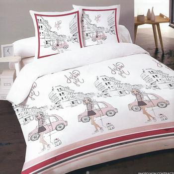 housse de couette 1.40*2m + 1 taie en 100% coton - fashion girl