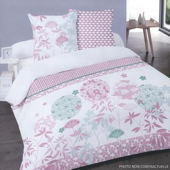 housse de couette 2.4*2.2m + 2 taies en 100% coton pour lit de 2 personnes - fleurs rose turquoise