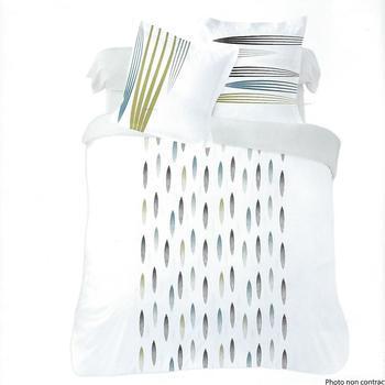 housse de couette extra grande 260*240cm + 2 taies en 100% coton pour lit de 2 personnes - feuilles fines