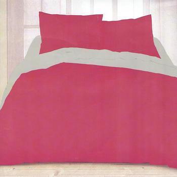 housse de couette extra grande 260*240cm + 2 taies en 100% coton pour lit de 2 personnes - uni fuschia