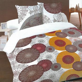 housse de couette extra grande 260*240cm + 2 taies en 100% coton pour lit de 2 personnes - ronds taupe ocre