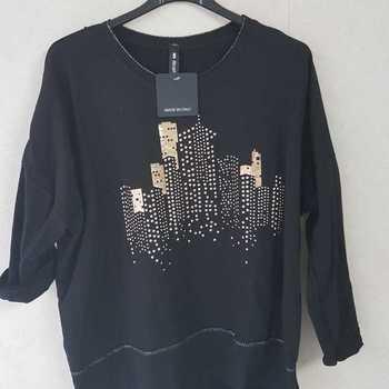 blouse coton avec building - bordeau