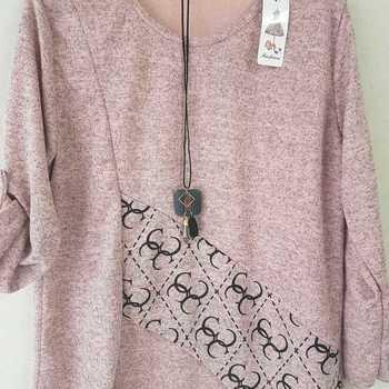 blouse tricot 3 avec collier pour dame - différents coloris