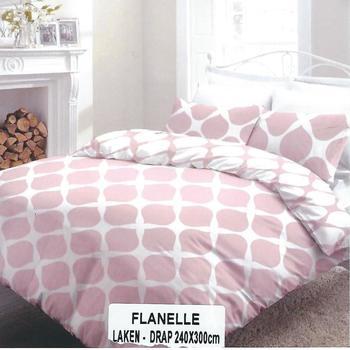 drap plat + 2 taies en flanelle - belle qualité - rose