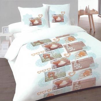 drap plat + drap housse + 2 taies pour lit de 2 personnes - flanelle - charmy