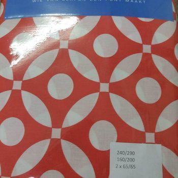 drap plat + drap housse + 2 taies pour lit de 2 personnes - 100% coton - rouge et blanc