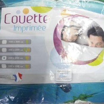 couette imprimée double face 2.40*2.20m pour lit de 2 personnes - dauphin