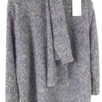 pull ras du cou avec écharpe pour dame - gris - 46/52
