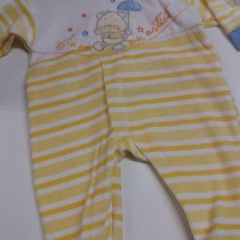 pyjama 1 pièce velours rasé pour prématuré (45cm) - 50 - 56cm en 3 coloris