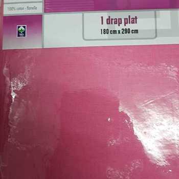 1 drap plat flanelle pour lit d'1 personne - rose