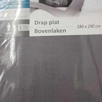 1 drap plat coton pour lit d'1 personne - gris foncé