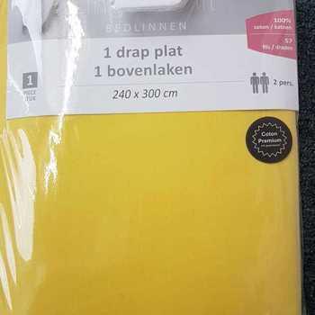 1 drap plat coton pour lit de 2 personnes - 2.40*3m - jaune