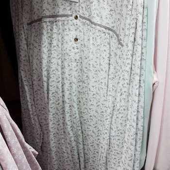 robe de nuit coton jersey - empire - pia fleurs brunes - reste 4XL - fabrication belge