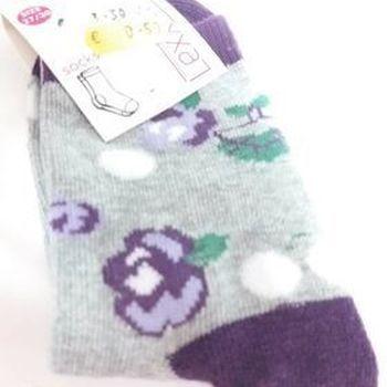 chaussettes / 1 paire 27/30 fleurs mauves en PROMO