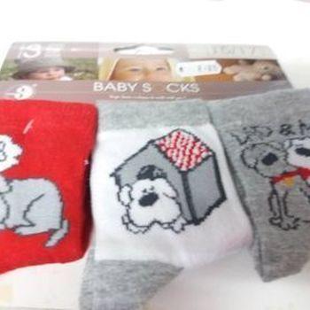 chaussettes bébé avec du coton - chien rouge - 15/17 - 3 pour 2.50