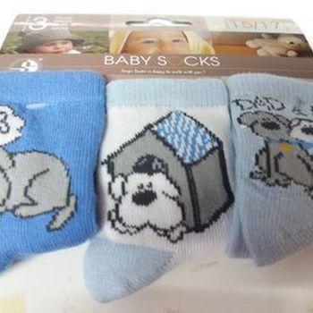 chaussettes bébé avec du coton - chien bleu - 15/17 - 3 pour 2.50€