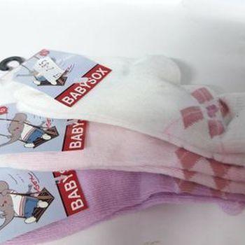 chaussettes bébé avec du coton - losanges ton rose - 3 pour 3.85€