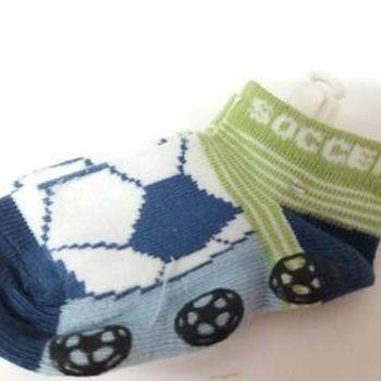chaussettes bébé (courtes) soccer bleu kaki pour naissance en PROMO