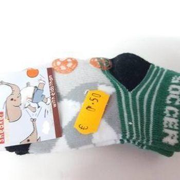 chaussettes bébé (courtes) soccer gris vert orange pour naissance en PROMO