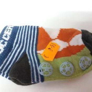 chaussettes bébé (courtes) avec du coton - soccer orange marine pour naissance en PROMO