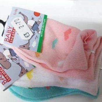 chaussettes bébé (courtes) avec du coton - petits coeurs - 3 pour 2.70€