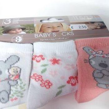 chaussettes bébé avec du coton - souris - saumon - 15/17 18/20 21/23