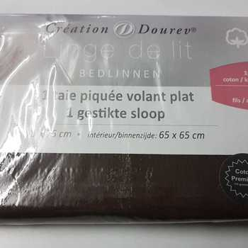 taie d'oreiller avec 1 bord plat en coton - marron chocolat