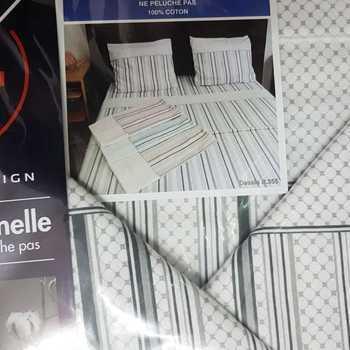 drap plat + drap housse + 2 taies pour lit de 2 personnes - flanelle - gris lignes